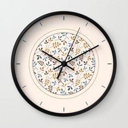 Assorted Leaf Silhouettes Ptn Blues Brwn Gld Crm Wall Clock