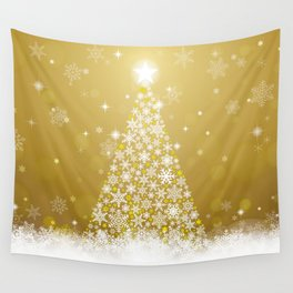 Gold Snowflakes Sparkling Christmas Tree Wall Tapestry