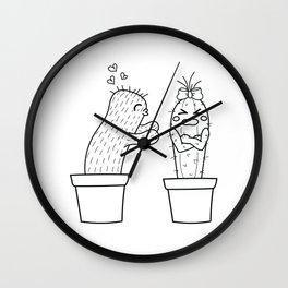Unrequited love. Cute cactus illustration. Black. Wall Clock