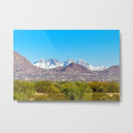 Snow on Four Peaks Metal Print
