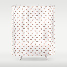 rose gold hearts Shower Curtain