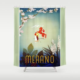 Horse riding, golf and tennis in 1920s Merano Shower Curtain