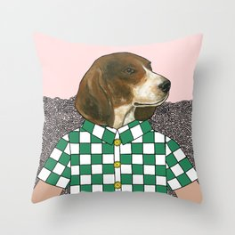 Checkered Beagle Throw Pillow