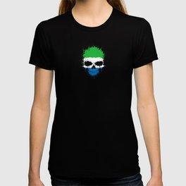 Flag of Sierra Leone on a Chaotic Splatter Skull T-shirt