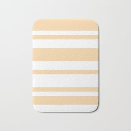 Mixed Horizontal Stripes - White and Sunset Orange Bath Mat