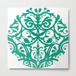 Green Floral Folk Art Metal Print
