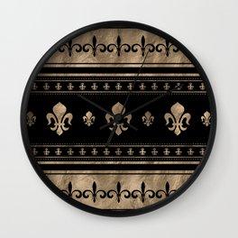Fleur-de-lis Luxury ornament - black and gold Wall Clock