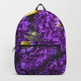 Bright Purple and Yellow Mum Flowers Backpack