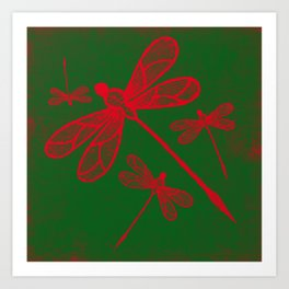 Red embroidered dragonflies on green textured background Art Print