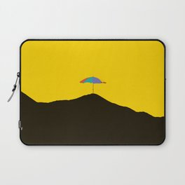 Colorful Umbrella On A Black Mountain In A Yellow Background - #society6 #buyart Laptop Sleeve
