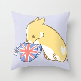 Cuppa Corgi Tea Throw Pillow