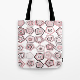 Balancing Pentagons in Pink & Grey Tote Bag