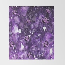 FEBRUARY PURPLE AMETHYST GEMS & CRYSTALS BIRTHSTONE Throw Blanket