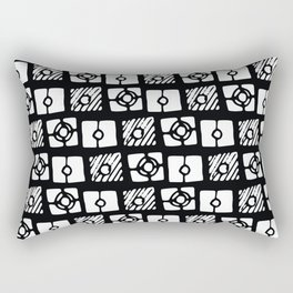Black white abstract hand painted geometrical pattern Rectangular Pillow