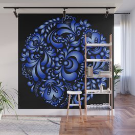 Gzhel black pattern Wall Mural