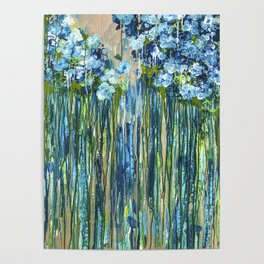 Forget me not -  Blue floral abstract Poster