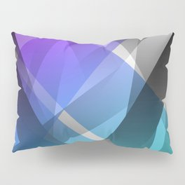 Transparent Abstract Geometric Shapes Purple and Teal Pillow Sham
