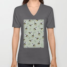 Fantail Bird Pattern Unisex V-Neck