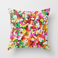 sprinkles Throw Pillows featuring Sprinkles by Beastie Toyz