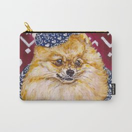 Pomeranian in a Hat and Scarf Carry-All Pouch
