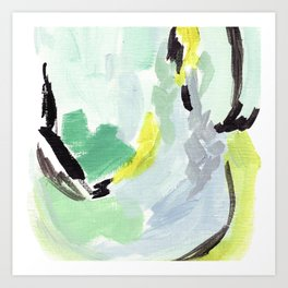 Twirl Green: Abstract Painting Art Print