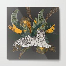 Exotic White Tiger Jungle Home Metal Print