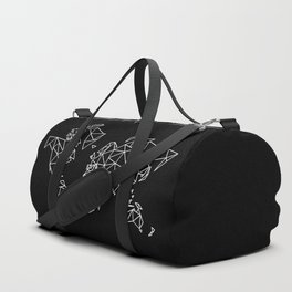 White on Black Geometric Low Poly Map of The World / Polygon geometry Duffle Bag