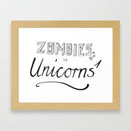Zombies vs. Unicorn (T-Shirt) Framed Art Print
