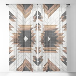 Urban Tribal Pattern No.5 - Aztec - Concrete and Wood Sheer Curtain