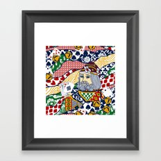 Santa Playing Cards Framed Art Print