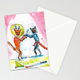 Space Cat vs Ninja Cat Stationery Cards