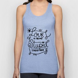 Simple Black and White Hand Drawn Love Quote Unisex Tank Top
