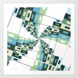 Retro Geometric Rotation Art Print
