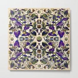 Vintage Purple Vine and Peacock Pattern Metal Print