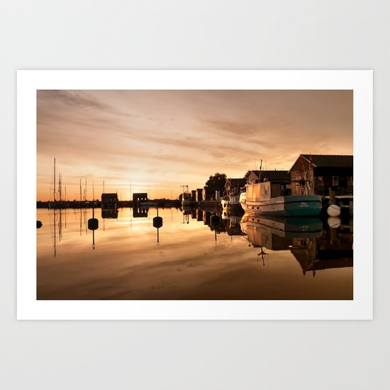 Beautiful Sunrise - harbour Beach Boat Ship Art Print