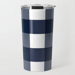 Navy Buffalo Check Travel Mug