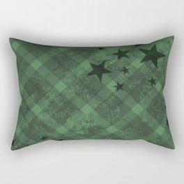 Plaid Stars Green Rectangular Pillow