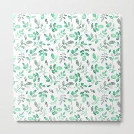 Watercolor green hand painted modern leaves pattern Metal Print