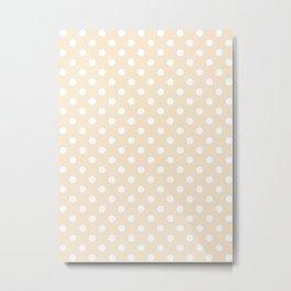 Small Polka Dots - White on Champagne Orange Metal Print