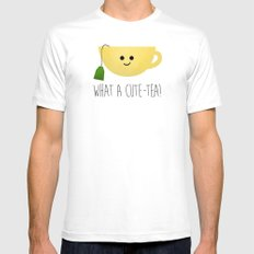 What A Cute-tea White Mens Fitted Tee MEDIUM