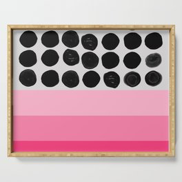 Pink and black dots Serving Tray