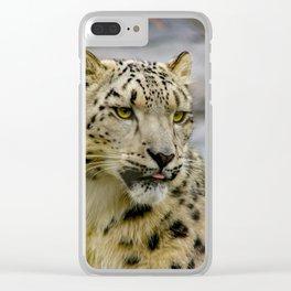 Snow leopard portrait photo Clear iPhone Case