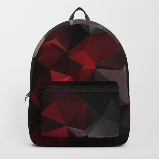 Polygon red black triangles . Backpack