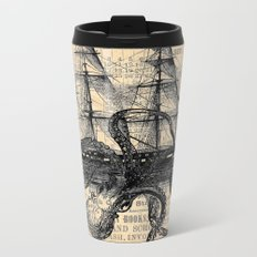 Octopus Kraken attacking Ship Antique Almanac Paper Metal Travel Mug