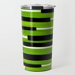 Lime Green Primitive Stripes Mid Century Modern Minimalist Watercolor Gouache Painting Colorful Stri Travel Mug