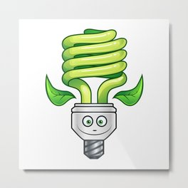 Eco Light Bulb Cartoon - Green Metal Print