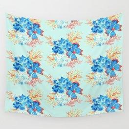 Seaside Floral Print Wall Tapestry