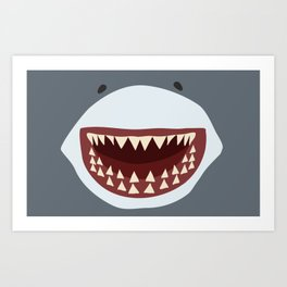 Shark Teeth Funny Kids Cartoon Smile Art Print