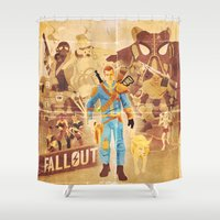 fallout Shower Curtains featuring FALLOUT FAN ART by Salty!