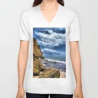 portugal V-neck T-shirts featuring Portugal beach hdr by Brian Raggatt